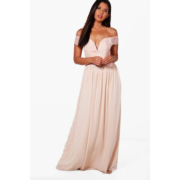 BOOHOO Boutique Rosie Lace Off The Shoulder Maxi Dress - Dresses are the most-wanted wardrobe item for day-to-night...