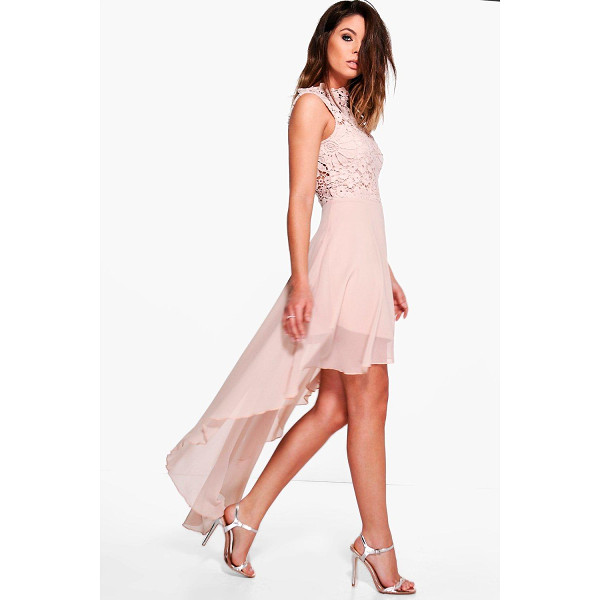 BOOHOO Boutique Ruby Lace Top Chiffon Dip Hem Dress - Dresses are the most-wanted wardrobe item for day-to-night...