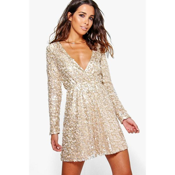 BOOHOO Boutique Sara Sequin Wrap Skater Dress - Dresses are the most-wanted wardrobe item for day-to-night...
