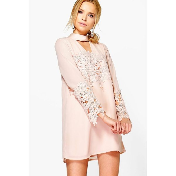 BOOHOO Boutique Si Choker Lace Flute Sleeve Shift Dress - Dresses are the most-wanted wardrobe item for day-to-night...
