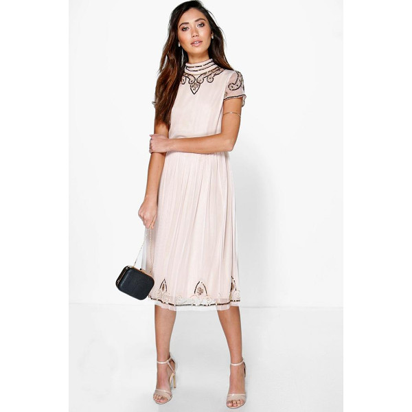 BOOHOO Boutique Sia Beaded High Neck Midi Dress - Get dance floor-ready in an entrance-making evening...