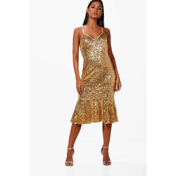BOOHOO Boutique Sophie Sequin Frill Hem Midi Dress - Dresses are the most-wanted wardrobe item for day-to-night...