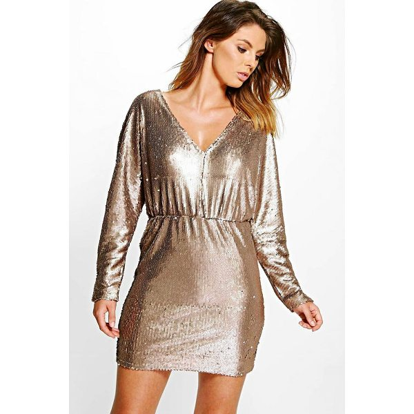 BOOHOO Boutique Sorinne Sequin Batwing V Neck Dress - Dresses are the most-wanted wardrobe item for day-to-night...