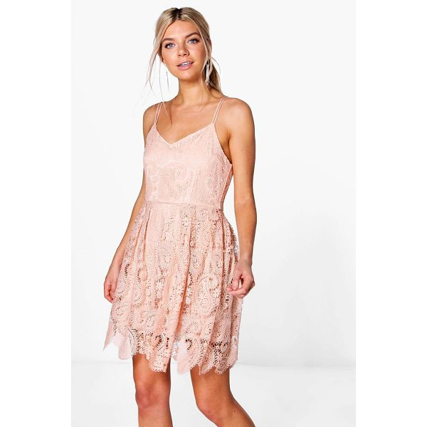 BOOHOO Boutique Tasha Scallop Lace Skater Dress - Dresses are the most-wanted wardrobe item for day-to-night...