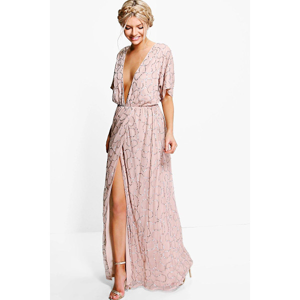 BOOHOO Boutique Tiai All Sequin Tie Back Maxi Dress - Boutique Tiai All Sequin Tie Back Maxi Dress rose