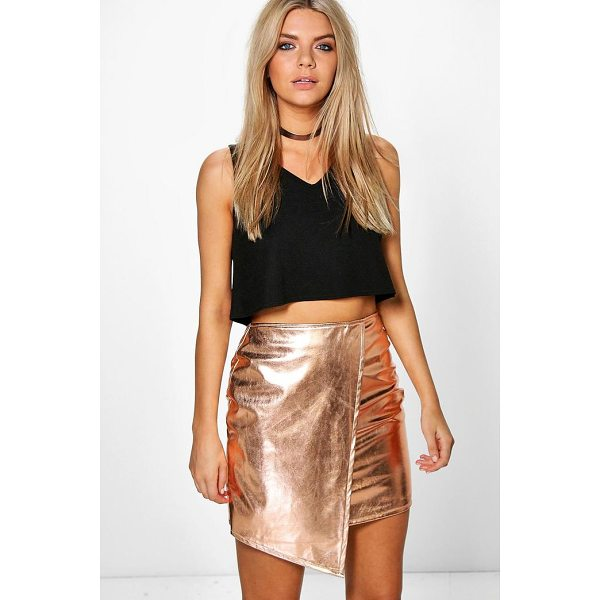 BOOHOO Brea Asymetric Metallic Leather Look Mini Skirt - Skirts are the statement separate in every wardrobe This...