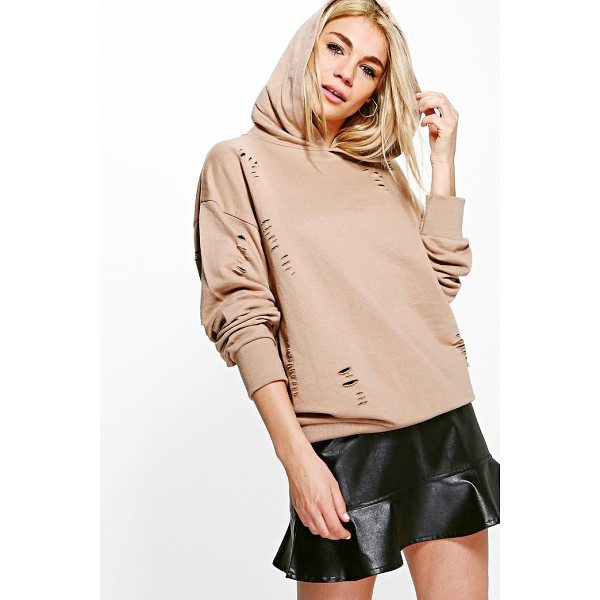 BOOHOO Brooklyn Distressed Oversized Hoody - Steal the style top spot in a statement separate from the...