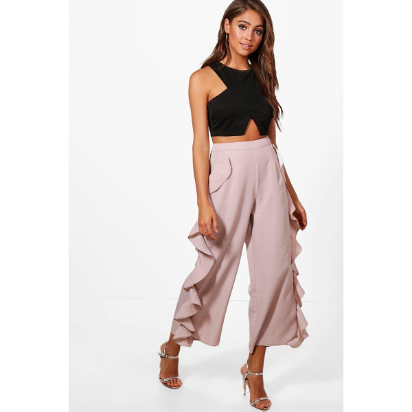BOOHOO Calista Ruffle Side Woven Wide Leg Culottes - Trousers are a more sophisticated alternative to...