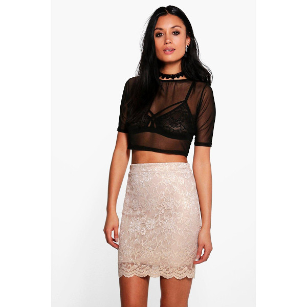 BOOHOO Callie Scalloped Lace Metallic Mini Skirt - Skirts are the statement separate in every wardrobe This...