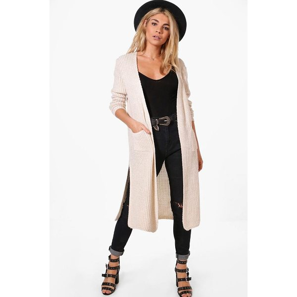 BOOHOO Camilla Side Split Maxi Cardigan - Nail new season knitwear in the jumpers and cardigans that...