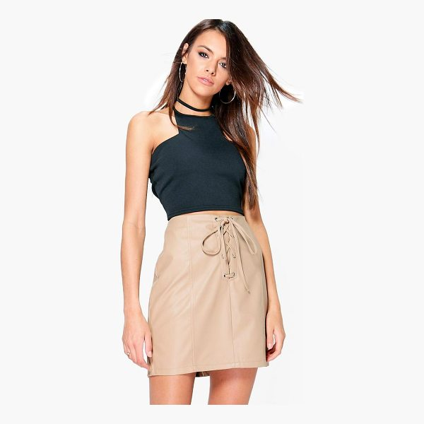BOOHOO Camille Lace Up Panelled Leather Look Mini Skirt - Skirts are the statement separate in every wardrobe This...
