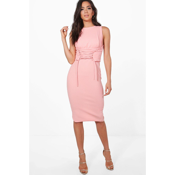 BOOHOO Cara Corset Lace Peplum Midi Dress - Dresses are the most-wanted wardrobe item for day-to-night...