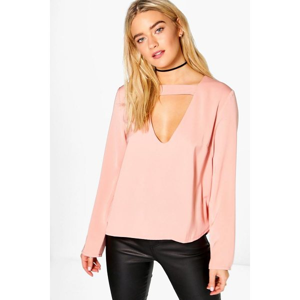 BOOHOO Cara Open Neck Detail Blouse - Steal the style top spot in a statement separate from the...