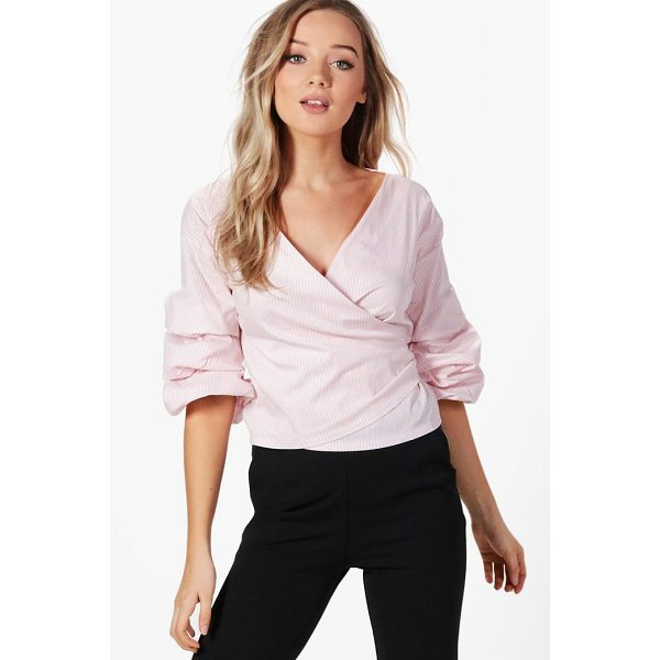 BOOHOO Cara Ruffle Sleeve Stripe Wrap Shirt - Steal the style top spot in a statement separate from the...