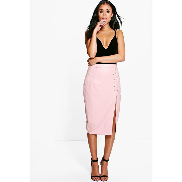 BOOHOO Carmel Lace Up Split Leather Look Midi Skirt - Skirts are the statement separate in every wardrobe This...