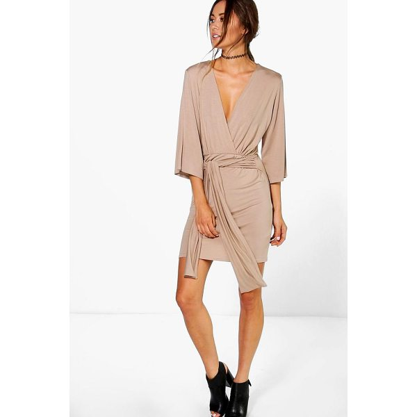 BOOHOO Carmel Wrap Front Plunge Neck Dress - Dresses are the most-wanted wardrobe item for day-to-night...