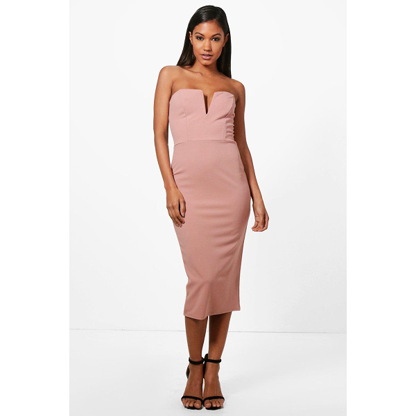 BOOHOO Carmen Plunge Bandeau Midi Dress - Dresses are the most-wanted wardrobe item for day-to-night...
