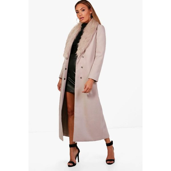 BOOHOO Caroline Maxi Faux Fur Collar Wool Look Coat - Wrap up in the latest coats and jackets and get out-there...