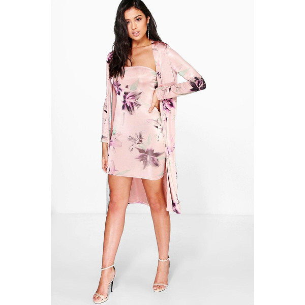 BOOHOO Cassidy Floral Slinky Dress & Duster Co-Ord Set - Co-ordinates are the quick way to quirky this seasonMake...