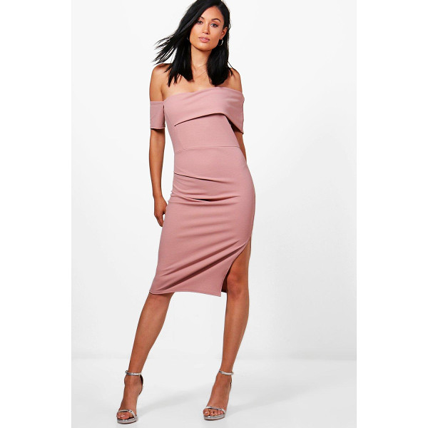 BOOHOO Cat Off Shoulder Ruched Midi Dress - Dresses are the most-wanted wardrobe item for day-to-night...