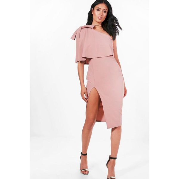 BOOHOO CeCe Bow Shoulder Detail Midi Dress - Spin your way through cocktail hour in our selection of...