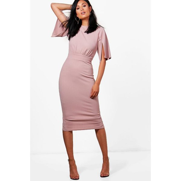 BOOHOO Cesca Split Sleeve Detail Wiggle Midi Dress - Spin your way through cocktail hour in our selection of...