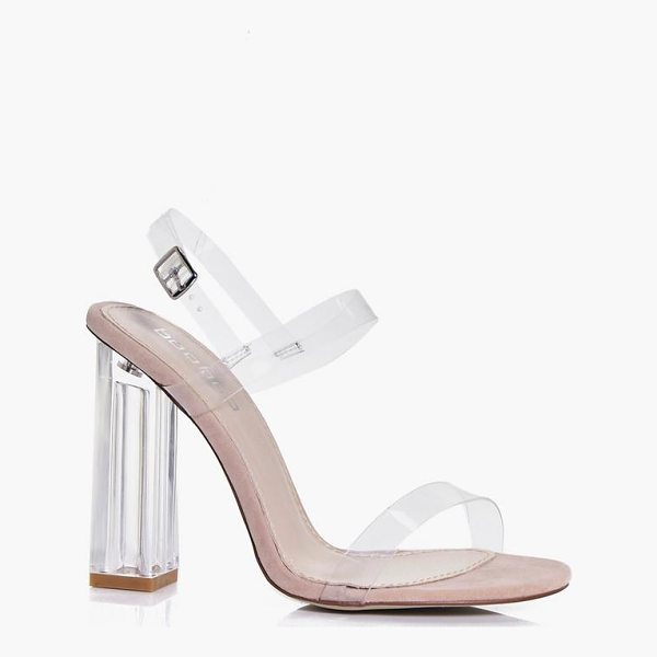 BOOHOO Charlotte Clear Block Two Part Heels - We'll make sure your shoes keep you one stylish step ahead...