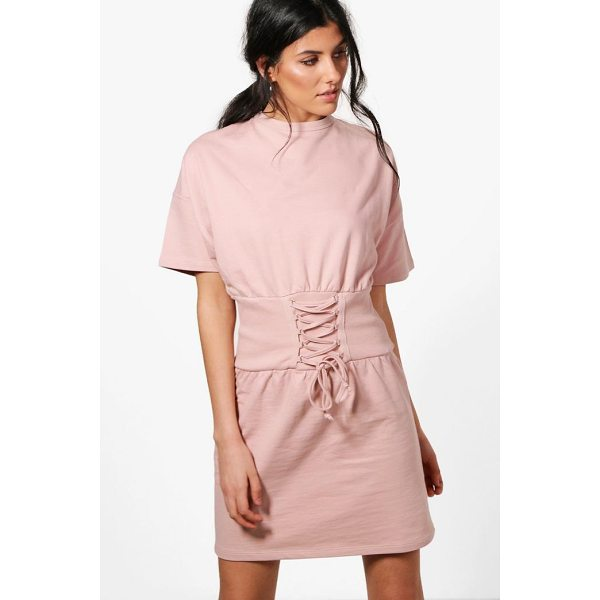 BOOHOO Charlotte Corset Detail Short Sleeve Sweat Dress - Dresses are the most-wanted wardrobe item for day-to-night...