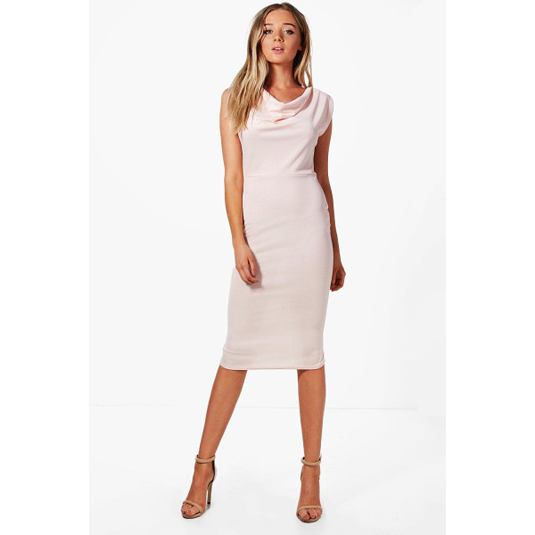 BOOHOO Charlotte Cowl Neck Midi Dress - Dresses are the most-wanted wardrobe item for day-to-night...