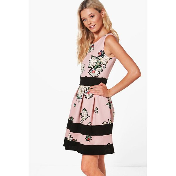BOOHOO Charlotte Floral Print Skater Dress - Dresses are the most-wanted wardrobe item for day-to-night...
