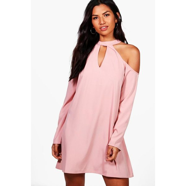 BOOHOO Charlotte Woven Cold Shoulder Cut Out Shift Dress - Dresses are the most-wanted wardrobe item for day-to-night...