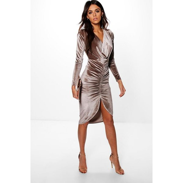 BOOHOO Charly Cowl Neck Velvet Draped Midi Dress - Always be ready to party with the perfect bodycon dress....