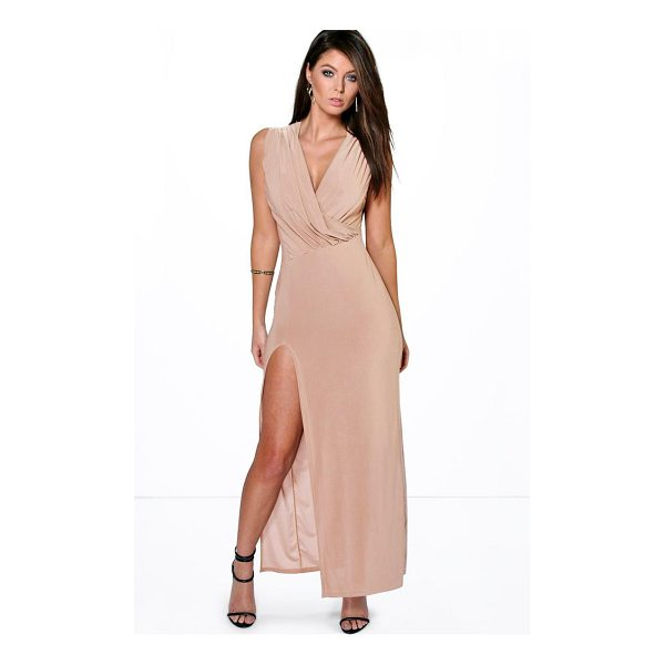 BOOHOO Cindy Draped Plunge Thigh Slit Maxi Dress - Dresses are the most-wanted wardrobe item for day-to-night...