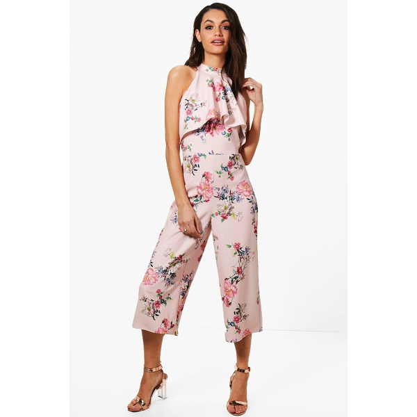 BOOHOO Claire Floral High Neck Culotte Jumpsuit - Jump start your new season wardrobe with the always chic...
