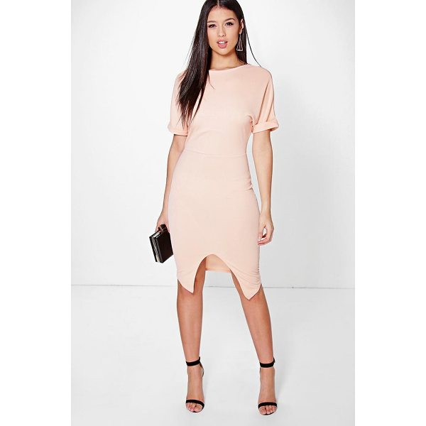 BOOHOO Clarice Crepe Wrap Skirt Detail Fitted Dress - Dresses are the most-wanted wardrobe item for day-to-night...