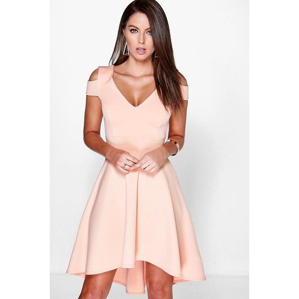 BOOHOO Clea Bardot Plunge High Low Skater Dress - Get dance floor-ready in an entrance-making evening dress....