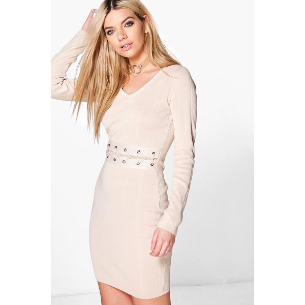 BOOHOO Constantina Lace Up Middle Ribbed Knit Dress - Dresses are the most-wanted wardrobe item for day-to-night...