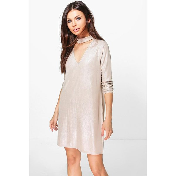 BOOHOO Daffy Metallic Choker Shift Dress - Dresses are the most-wanted wardrobe item for day-to-night...