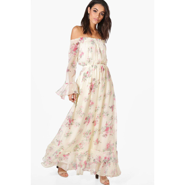 BOOHOO Dahlia Floral Ruffle Hem Maxi Dress - Dresses are the most-wanted wardrobe item for day-to-night...