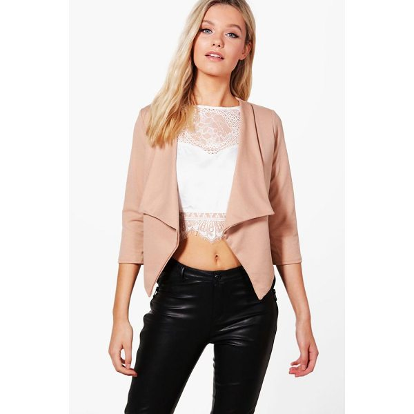 BOOHOO Daisy Shawl Collar Crop Blazer - Wrap up in the latest coats and jackets and get out-there...