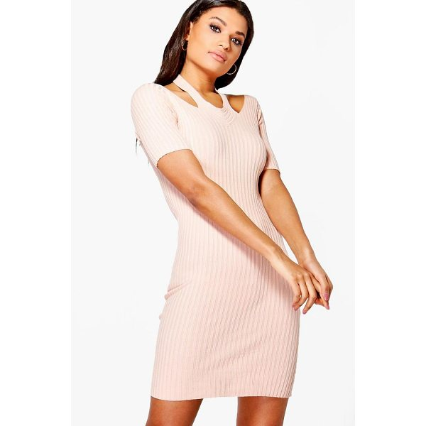 BOOHOO Daisy Cut Out Shoulder Rib Knit Jumper Dress - Nail new season knitwear in the jumpers and cardigans that...