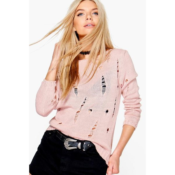 BOOHOO Daisy Distressed Jumper - Nail new season knitwear in the jumpers and cardigans that...