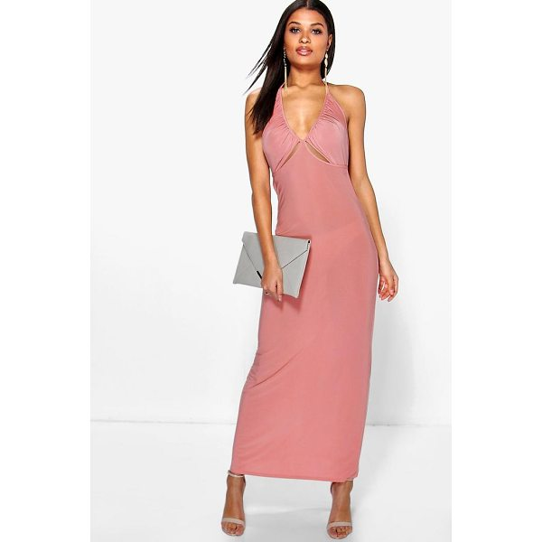 BOOHOO Dalia Ruched Halterneck Cut Out Maxi Dress - Dresses are the most-wanted wardrobe item for day-to-night...