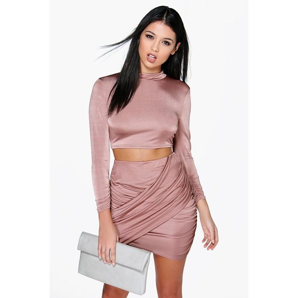 BOOHOO Dalis Slinky Wrap Mini Skirt Co-Ord Set - Co-ordinates are the quick way to quirky this seasonMake...
