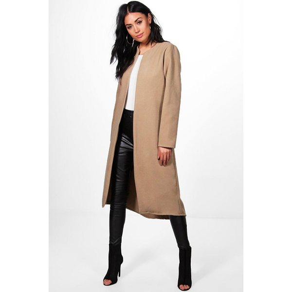 BOOHOO Danielle Collarless Edge To Edge Wool Coat - Wrap up in the latest coats and jackets and get out-there...