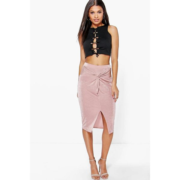 BOOHOO Darcey Knot Front Textured Slinky Midi Skirt - Skirts are the statement separate in every wardrobe This...