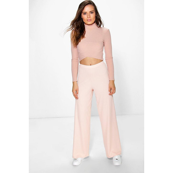 BOOHOO Darcey Ribbed Wide Leg Trousers - Trousers are a more sophisticated alternative to...