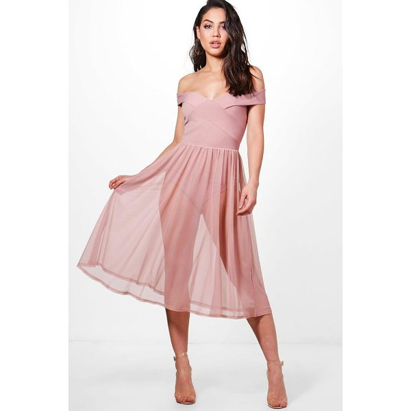BOOHOO Darcy Mesh Skirt Midi Skater Dress - Dresses are the most-wanted wardrobe item for day-to-night...