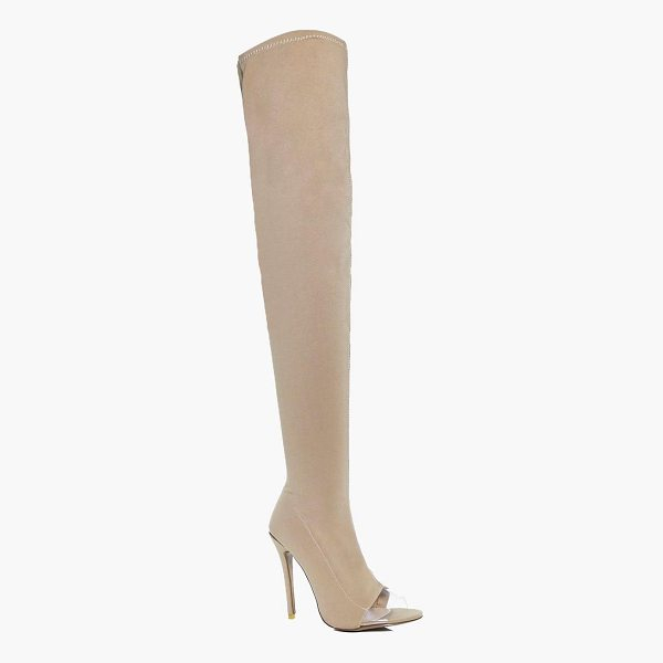 BOOHOO Darcy Thigh High Clear Insert Boot - We'll make sure your shoes keep you one stylish step ahead...