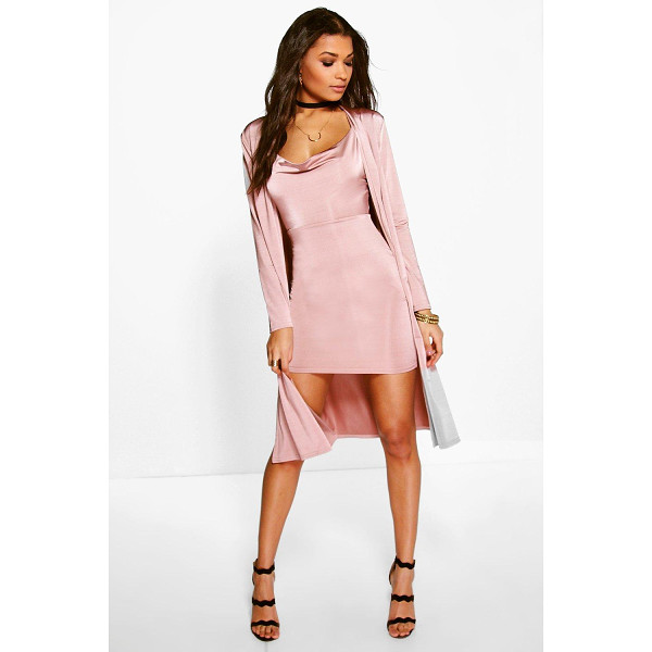 BOOHOO Darla Slinky Cowl Neck Dress & Duster Co-Ord Set - Party with your pins out in a statement evening skirtSteal...